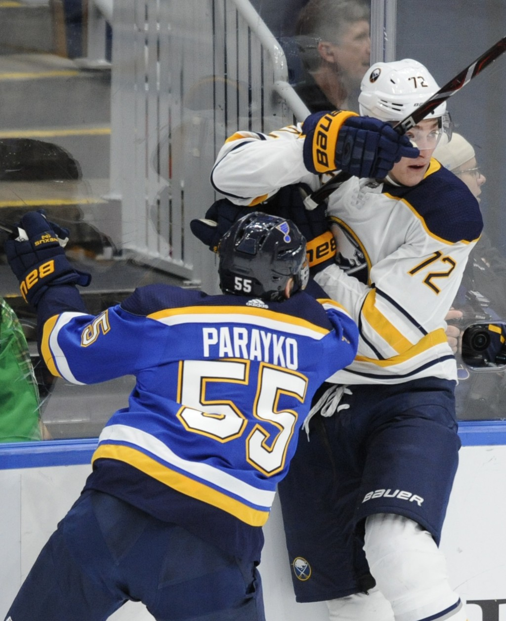 St. Louis Blues' Colton Parayko (55) collides with Buffalo Sabres' Tage Thompson (72) during the first period of an NHL hockey game, Thursday, Dec. 27...