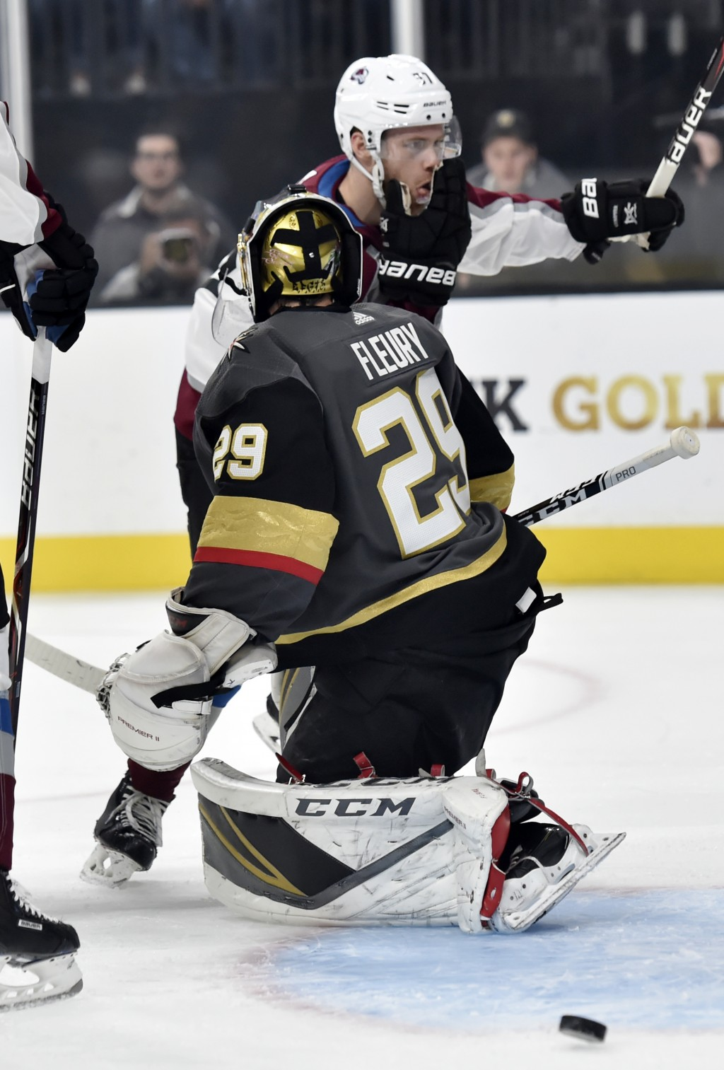 Colorado Avalanche left wing J.T. Compher (37) reacts after scoring against Vegas Golden Knights goaltender Marc-Andre Fleury during the first period ...