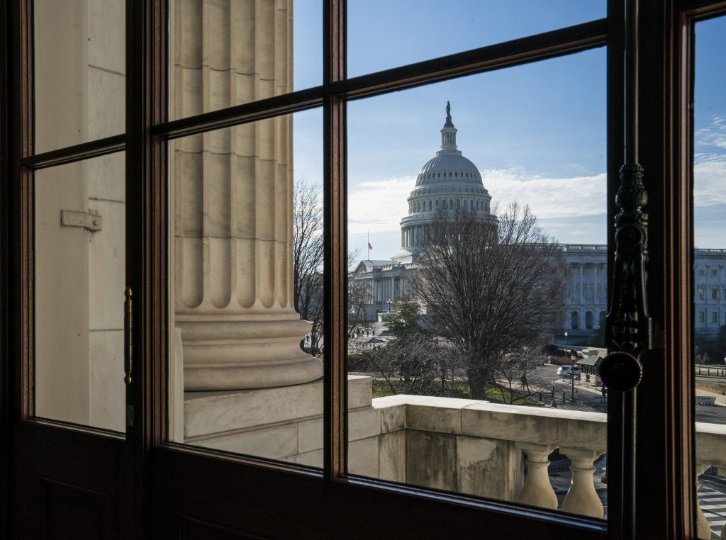 The Capitol Dome is seen from the Russell Senate Office Building in Washington, Thursday, Dec. 27, 2018, during a partial government shutdown.  Chance...