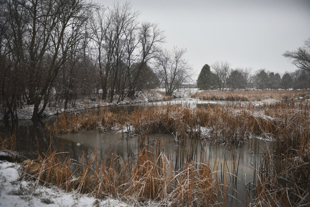 Snow falls at Sertoma Park on Thursday, Dec. 27, 2018, in Sioux Falls, S.D. The weather service in Sioux Falls, South Dakota says rain is changing ove