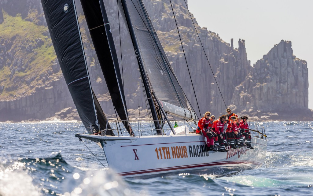 In this photo provided by Rolex/Studio Borlenghi, supermaxi Wild Oats XI gets close to Hobart, Australia, on the way to winning line honors in the Syd...