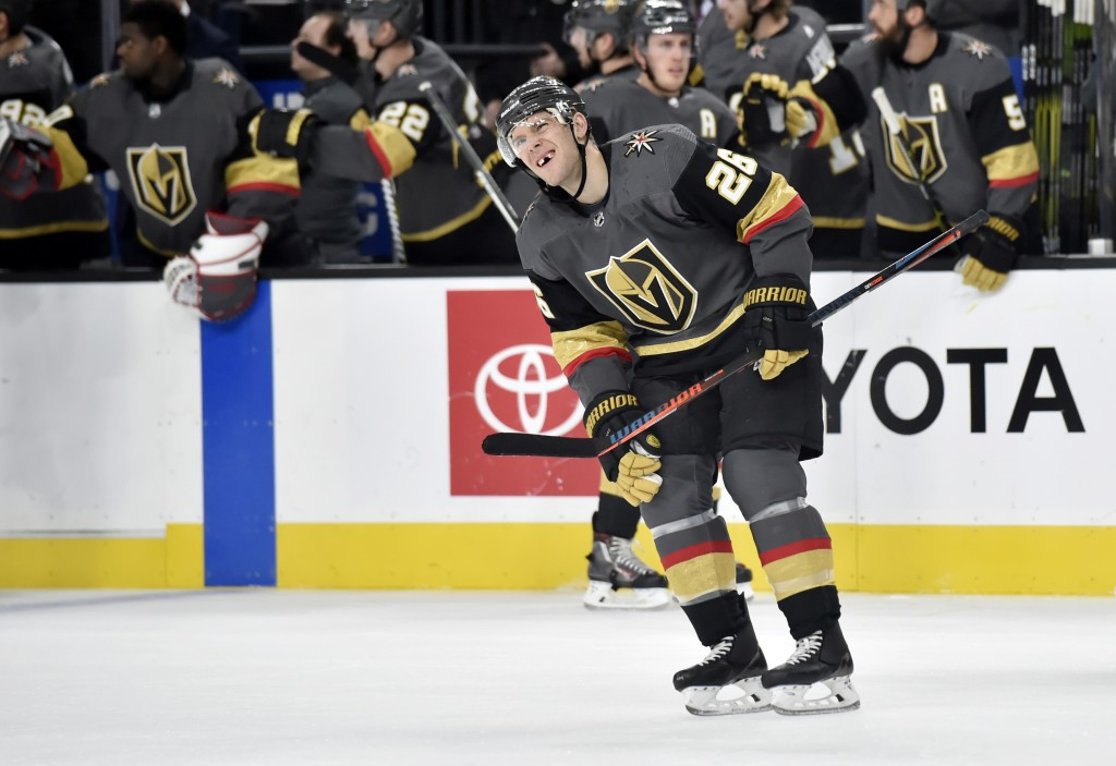 Vegas Golden Knights center Paul Stastny (26) reacts after scoring against the Colorado Avalanche during the first period of an NHL hockey game Thursd...