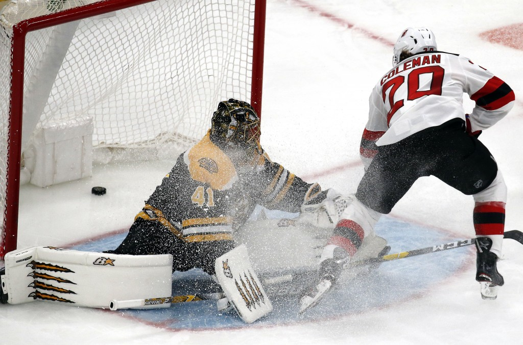 New Jersey Devils center Blake Coleman (20) scores a breakaway goal against Boston Bruins goaltender Jaroslav Halak (41) during the third period of an...