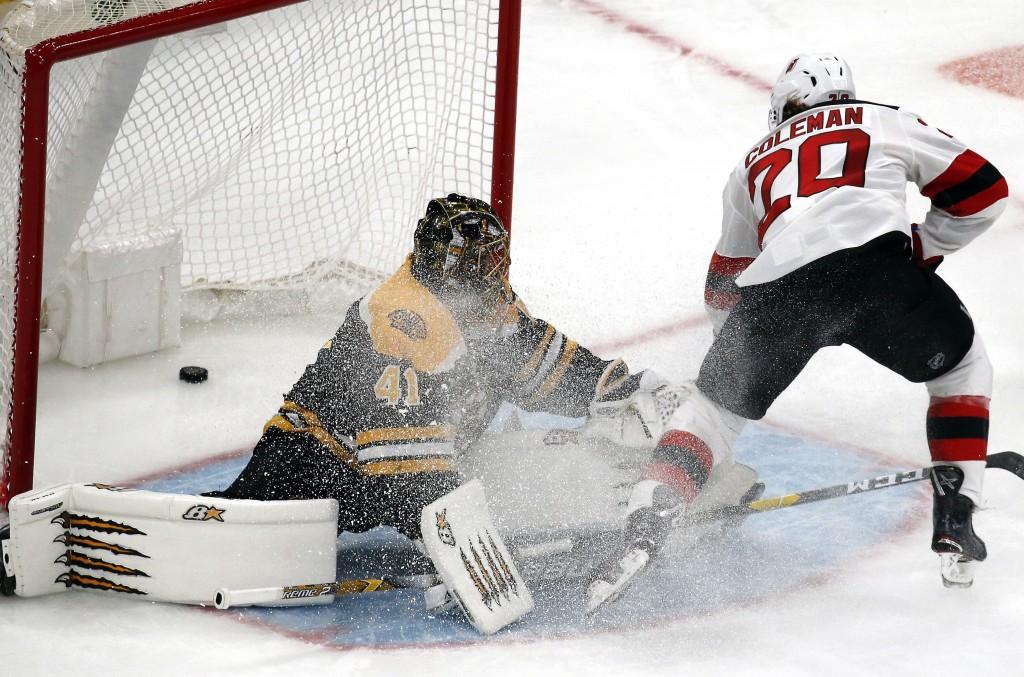 New Jersey Devils center Blake Coleman (20) scores a breakaway goal against Boston Bruins goaltender Jaroslav Halak (41) during the third period of an