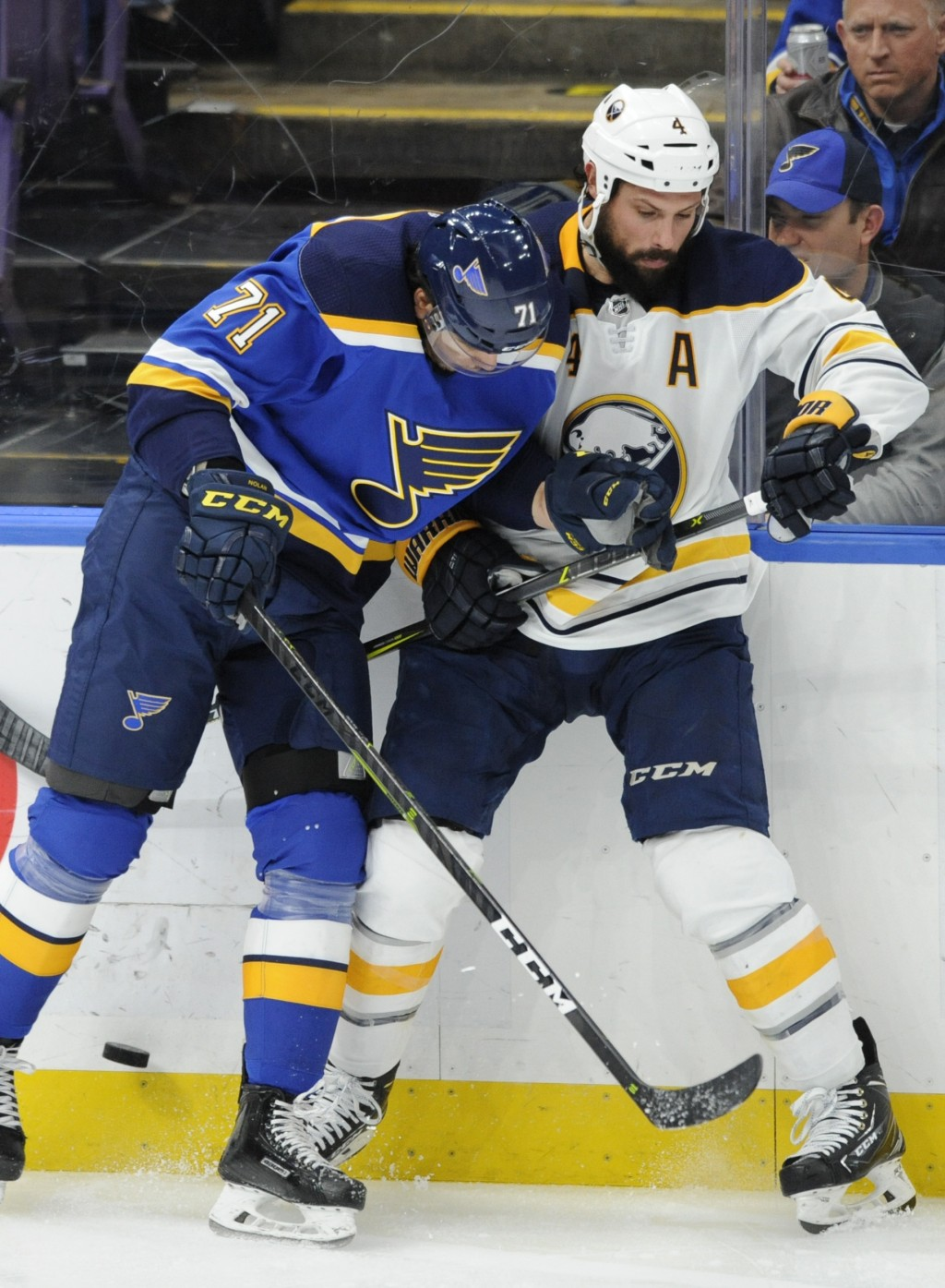St. Louis Blues' Jordan Nolan (71) looks for the puck with Buffalo Sabres' Zach Bogosian (4) during the second period of an NHL hockey game, Thursday,