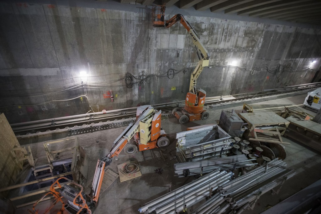 In this Nov. 29, 2018 photo, construction equipment and materials are on a train platform of the East Side Access project beneath Grand Central Termin...