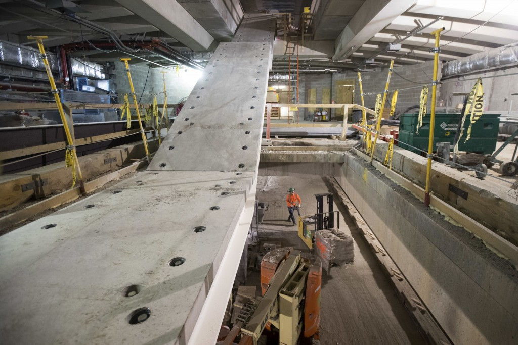 In this Nov. 29, 2018 photo, a staircase takes shape in the East Side Access project beneath Grand Central Terminal in New York. (AP Photo/Mary Altaff...