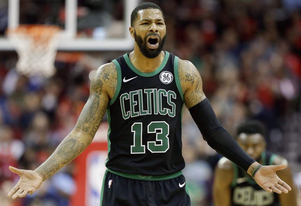 Boston Celtics forward Marcus Morris reacts after being called for his second technical foul of an NBA basketball game, resulting in his ejection, dur...