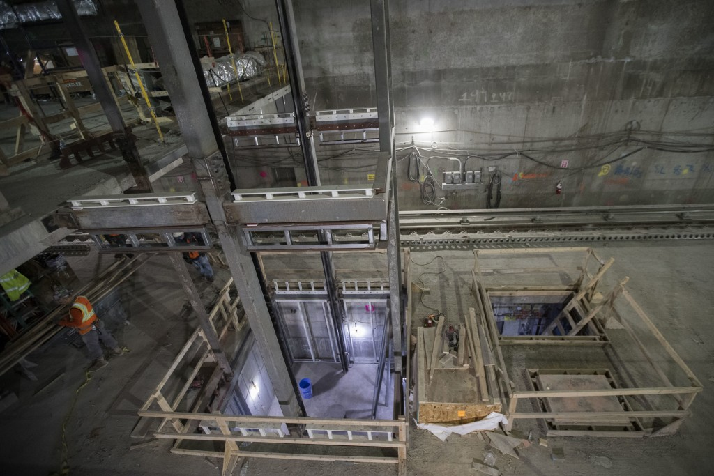 In this Nov. 29, 2018 photo, an elevator shaft takes shape on the track level of the East Side Access project beneath Grand Central Terminal in New Yo...