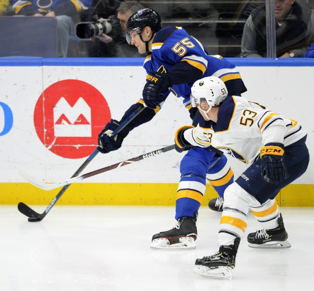 St. Louis Blues' Colton Parayko (55) gets the puck around Buffalo Sabres' Jeff Skinner 53) during the first period of an NHL hockey game, Thursday, De