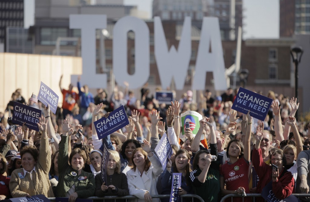 FILE - In this Oct. 31, 2008, file photo, supporters cheer as they listen to then-Democratic presidential candidate Sen. Barack Obama, D-Ill. at a ral...