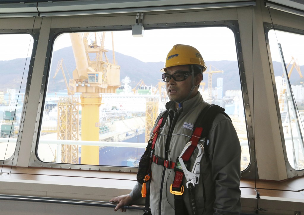 In this Friday, Dec. 7, 2018 photo, Song Ha-dong, a senior official from Daewoo Shipbuilding and Marine Engineering, speaks during an interview on the...