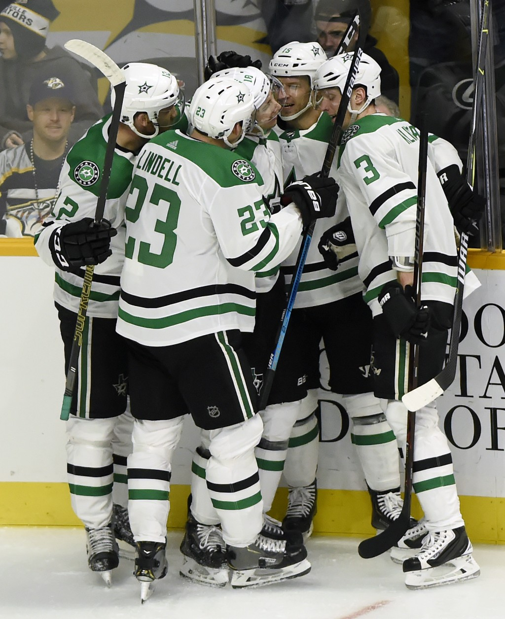 Dallas Stars center Tyler Pitlick (18) celebrates with teammates after scoring a goal against the Nashville Predators during the first period of an NH...