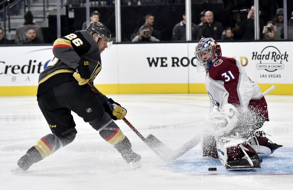 Vegas Golden Knights center Paul Stastny (26) shoots against Colorado Avalanche goaltender Philipp Grubauer (31) during the second period of an NHL ho...