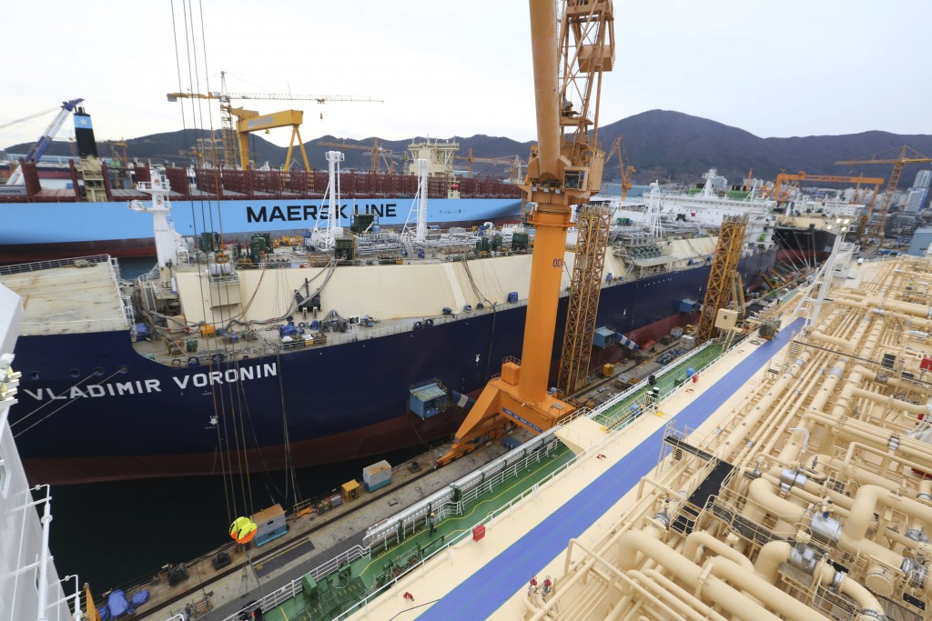 In this Friday, Dec. 7, 2018 photo, construction continues on large-sized liquefied natural gas (LNG) carriers at the Daewoo Shipbuilding and Marine E...