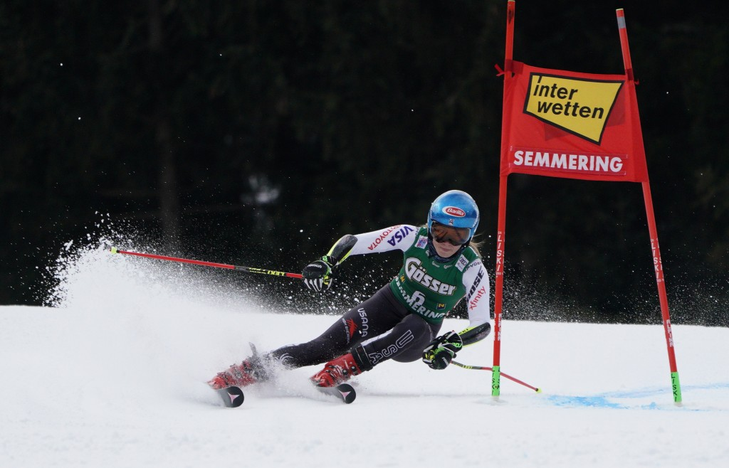United States' Mikaela Shiffrin speeds down the course during an alpine ski, women's World Cup giant slalom in Semmering, Austria, Friday, Dec.28, 201