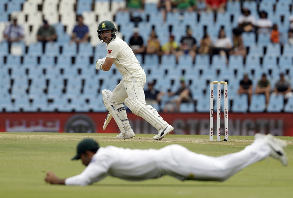 South Africa's batsman Dean Elgar watches his shot being field off on day three of the first cricket test match between South Africa and Pakistan at C...