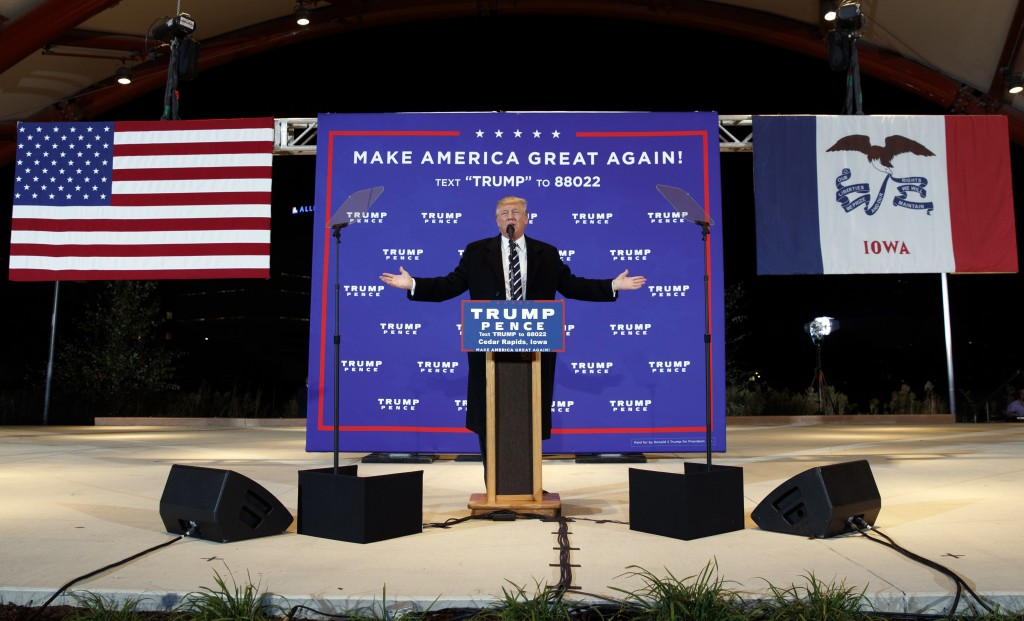 FILE - In this Oct. 28, 2016, file photo, then-Republican presidential candidate Donald Trump speaks during a campaign rally in Cedar Rapids, Iowa. Ba...