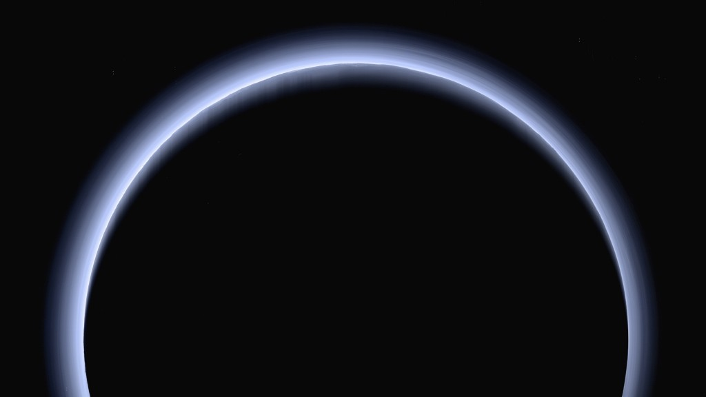 FILE - This image made available by NASA in March 2017 shows Pluto illuminated from behind by the sun as the New Horizons spacecraft travels away from