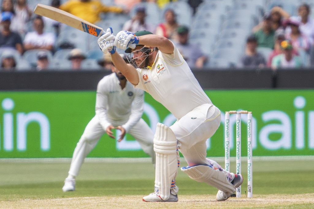 Australia's Aaron Finch batting during play on day three of the third cricket test between India and Australia in Melbourne, Australia, Friday, Dec. 2...