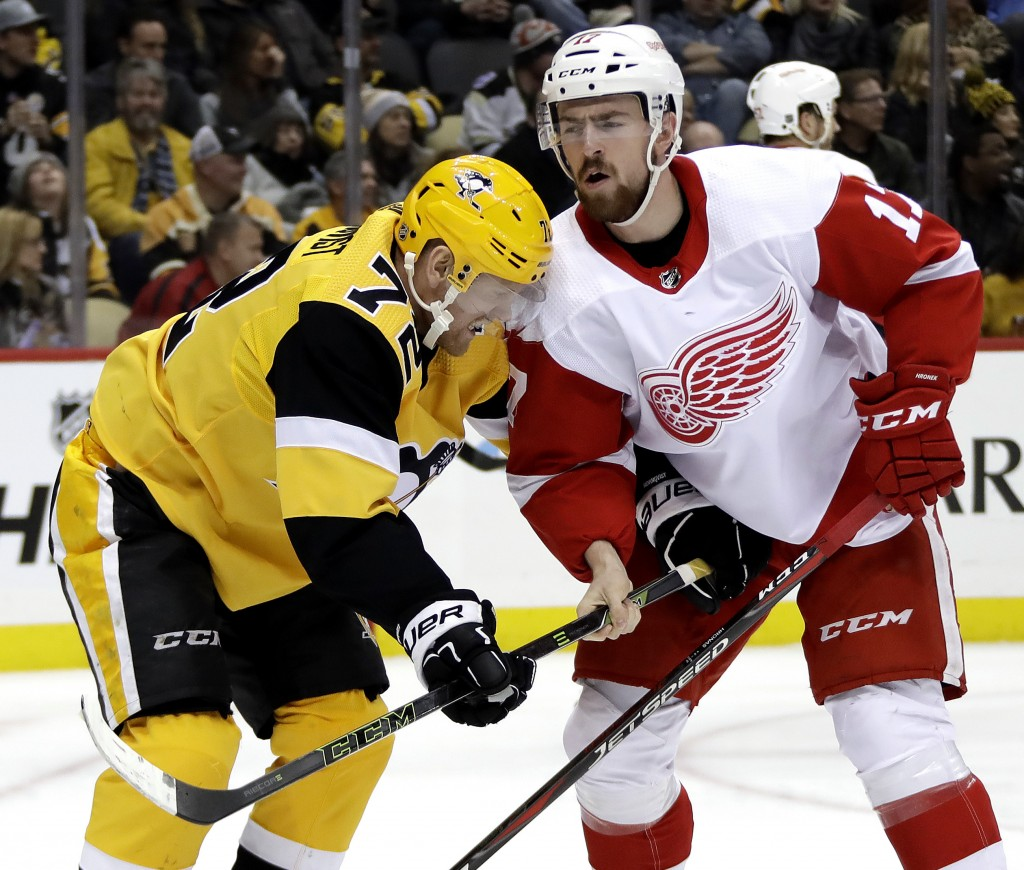 Detroit Red Wings' Filip Hronek (17) holds the stick of Pittsburgh Penguins' Patric Hornqvist (72) during the second period of an NHL hockey game in P