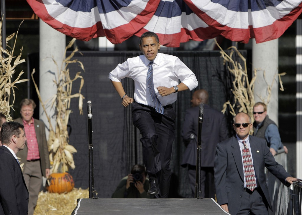 FILE - In this Oct. 31, 2008, file photo, then-Democratic presidential candidate, Sen. Barack Obama, D-Ill., arrives at a rally in Des Moines, Iowa, F...