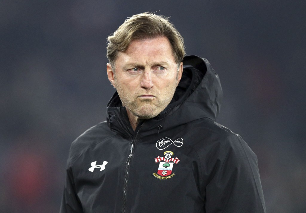 Southampton manager Ralph Hasenhuttl looks on during the English Premier League soccer match between Southampton and West Ham at St Mary's, in Southam...