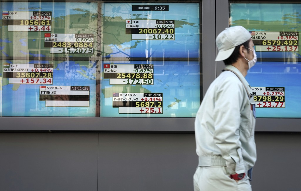 A man walks past an electronic stock board showing Japan's Nikkei 225 index and other countries' index at a securities firm in Tokyo Friday, Dec. 28, ...
