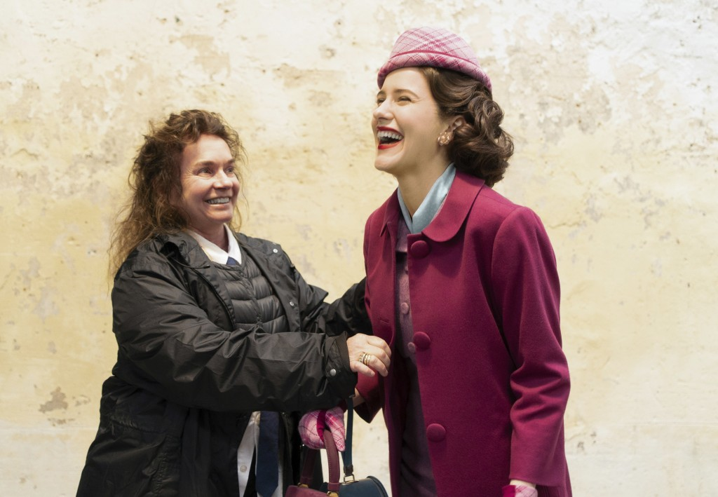 """This image released by Amazon shows costume designer Donna Zakowska, left, with actress Rachel Brosnahan on the set of """"The Marvelous Mrs. Maisel.""""  O..."""