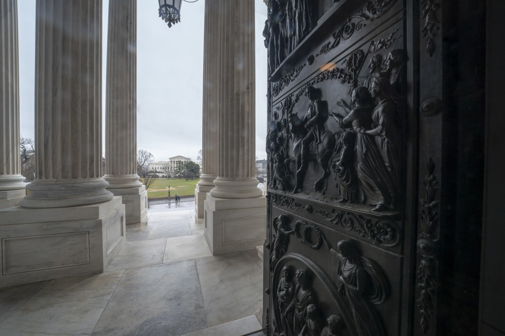 The ornate doors to the Senate are seen at the Capitol in Washington, Friday, Dec. 28, 2018, during a partial government shutdown. The partial governm...