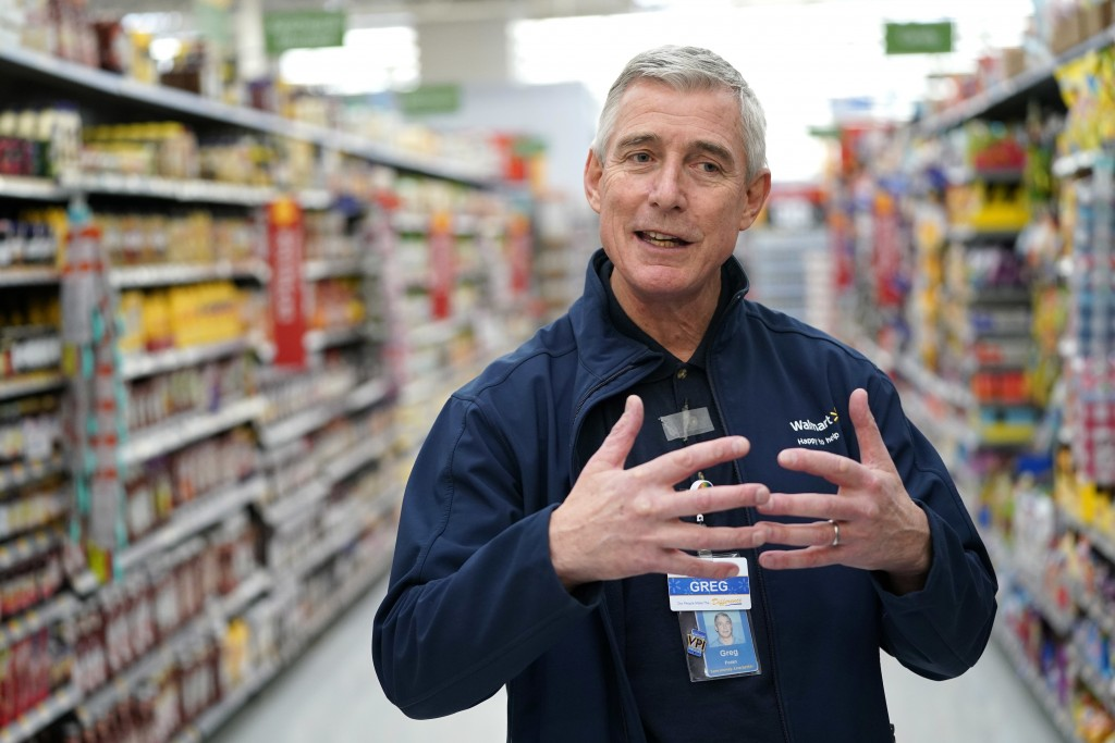 FILE - In this Nov. 9, 2018, file photo, Walmart U.S. President and CEO Greg Foran talks about the technology the company is using to keep shelves sto...