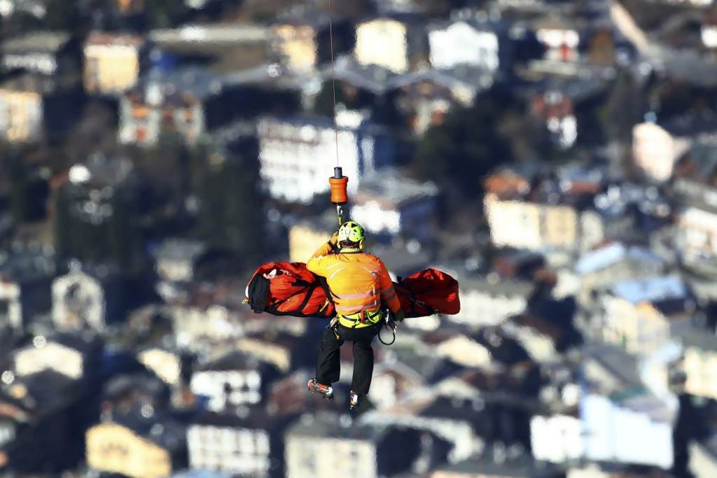 Norway's Stian Saugestad is airlifted after crashing on the course during a ski World Cup Men's Super G in Bormio, Italy, Saturday, Dec. 29, 2018. (AP...