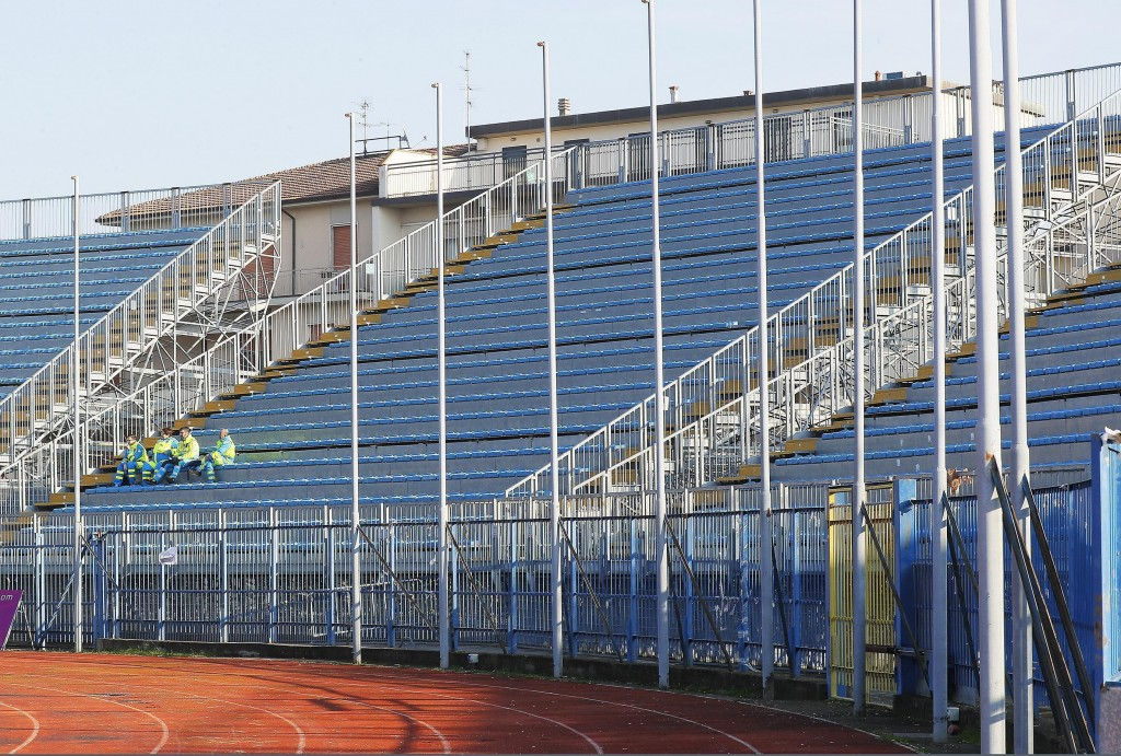 A general view of the empty stadium tribune reserved to the Inter of Milan's fans prior to the start of the Italian Serie A soccer match between Empol...