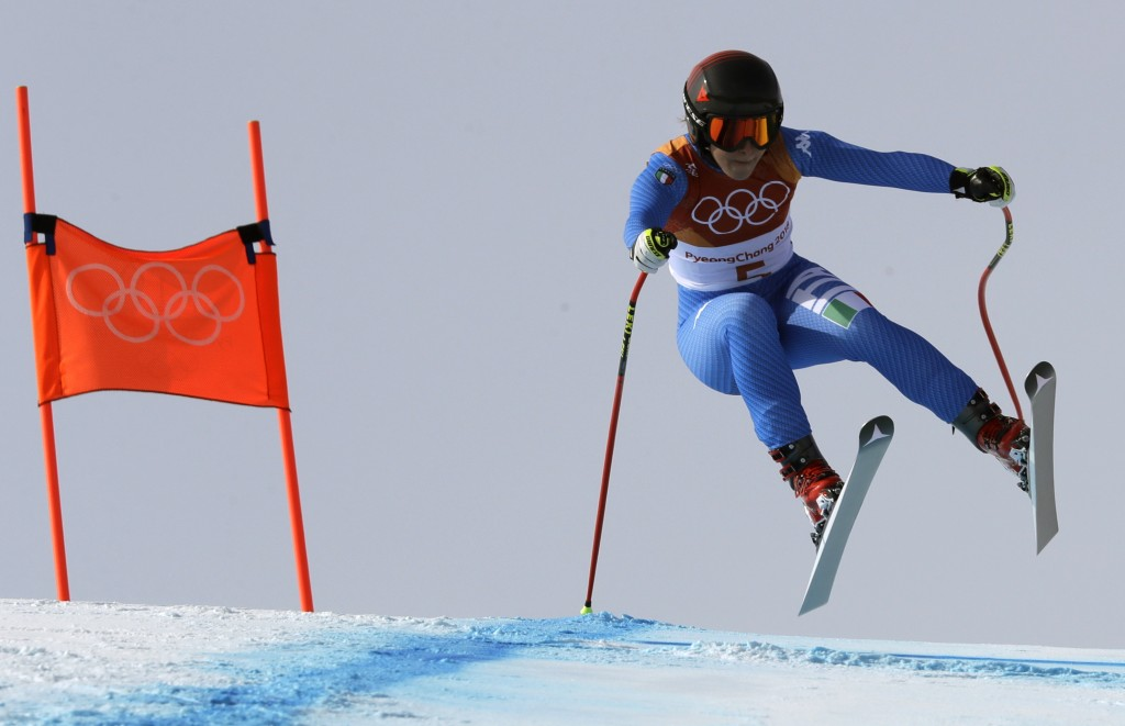 In this Feb. 21, 2018, file photo, Italy's Sofia Goggia competes in the women's downhill at the 2018 Winter Olympics in Jeongseon, South Korea. (AP Ph...