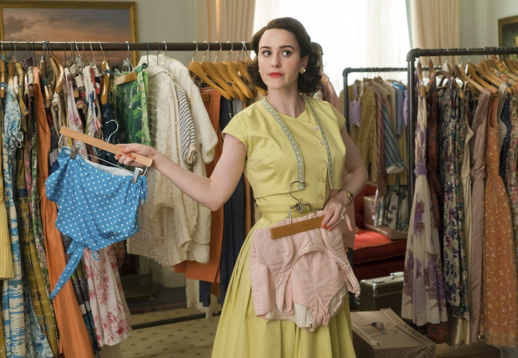 """This image released by Amazon shows Rachel Brosnahan in a scene from """"The Marvelous Mrs. Maisel."""" The meticulous costumes of the 1950s-era show are cr..."""