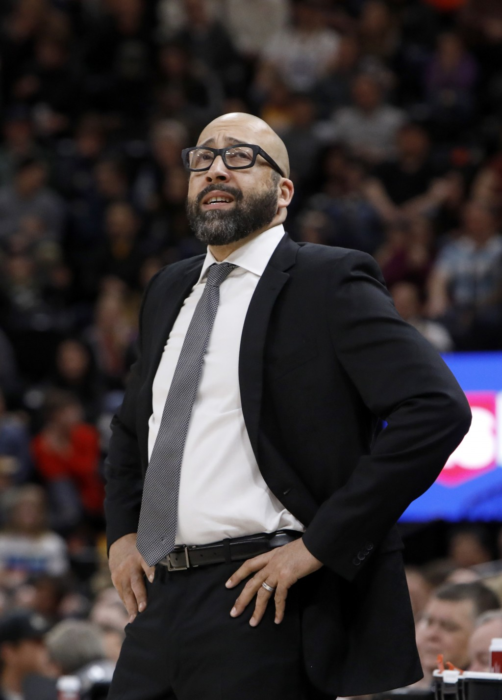 New York Knicks' head coach David Fizdale reacts to his team trailing the Utah Jazz in the first half of an NBA basketball game on Saturday, Dec. 29, ...