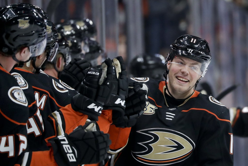 Anaheim Ducks right wing Daniel Sprong celebrates after scoring during the first period of an NHL hockey game against the Arizona Coyotes in Anaheim, ...