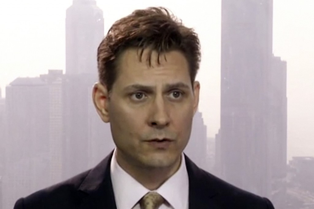 FILE - In this file image made from a video taken on March 28, 2018, Michael Kovrig, an adviser with the International Crisis Group, a Brussels-based ...