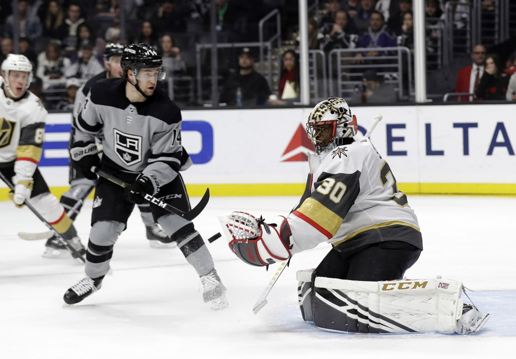Vegas Golden Knights goaltender Malcolm Subban (30) stops a shot against the Los Angeles Kings during the second period of an NHL hockey game Saturday...