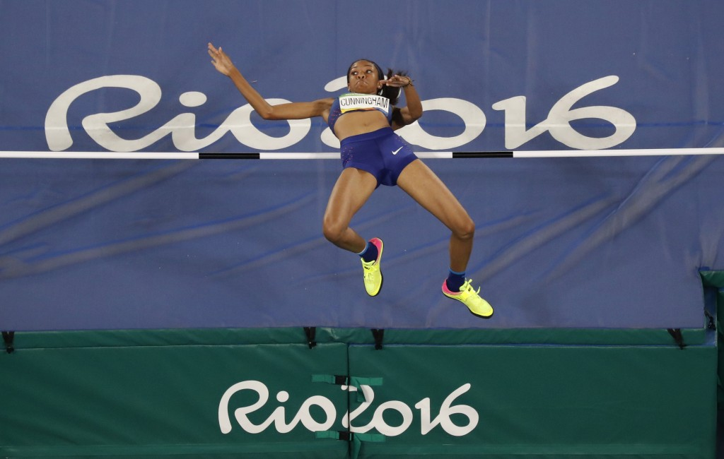 File-This Aug. 20, 2016, file photo shows United States' Vashti Cunningham competing in the high jump finals during the athletics competitions of the ...