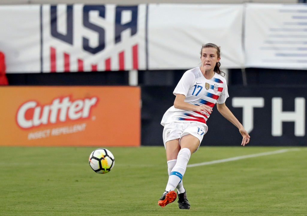 File-This April 5, 2018, file photo shows United States' Tierna Davidson moving the ball against the Mexico during the first half of an international ...
