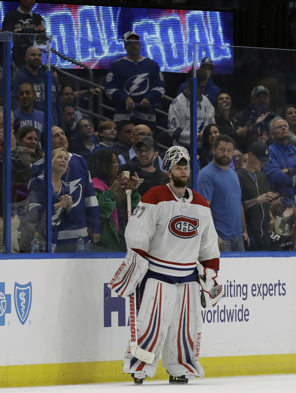 Montreal Canadiens goaltender Antti Niemi (37) watches the replay of Tampa Bay Lightning left wing Adam Ernes' goal during the third period of an NHL ...