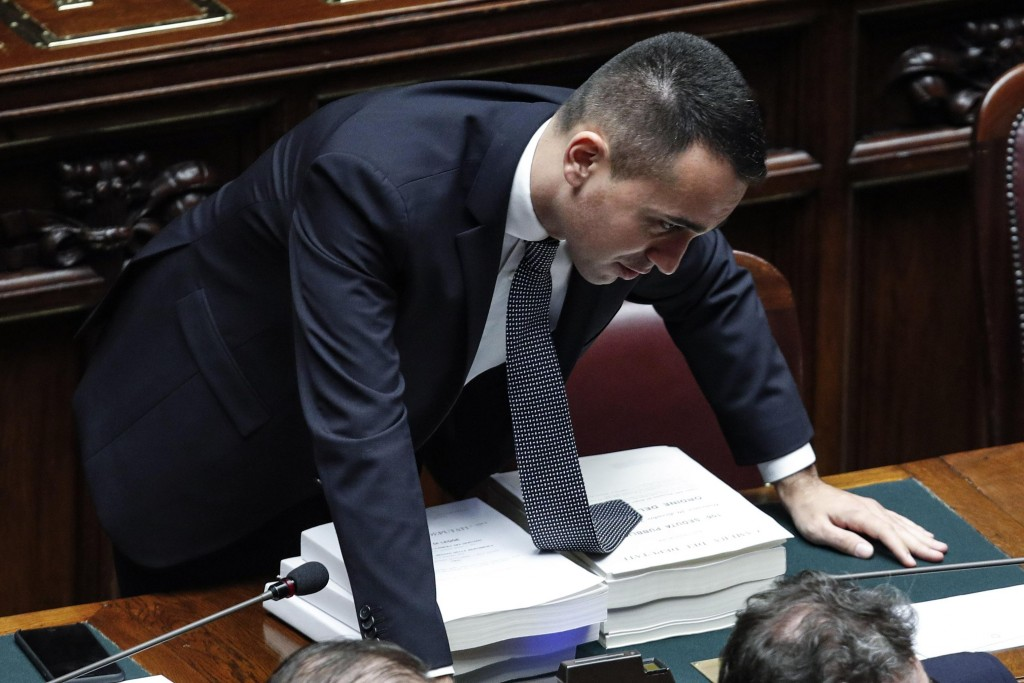 Italian deputy P{premier Luigi Di Maio attends a debate prior to a final vote to formally approve the 2019 budget law, at the Italian lower chamber of...