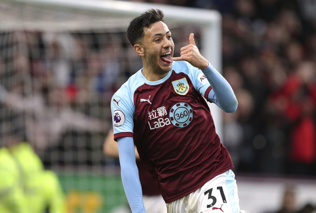 Burnley's Dwight McNeil celebrates scoring his side's second goal of the game against West Ham United, during their English Premier League soccer matc...