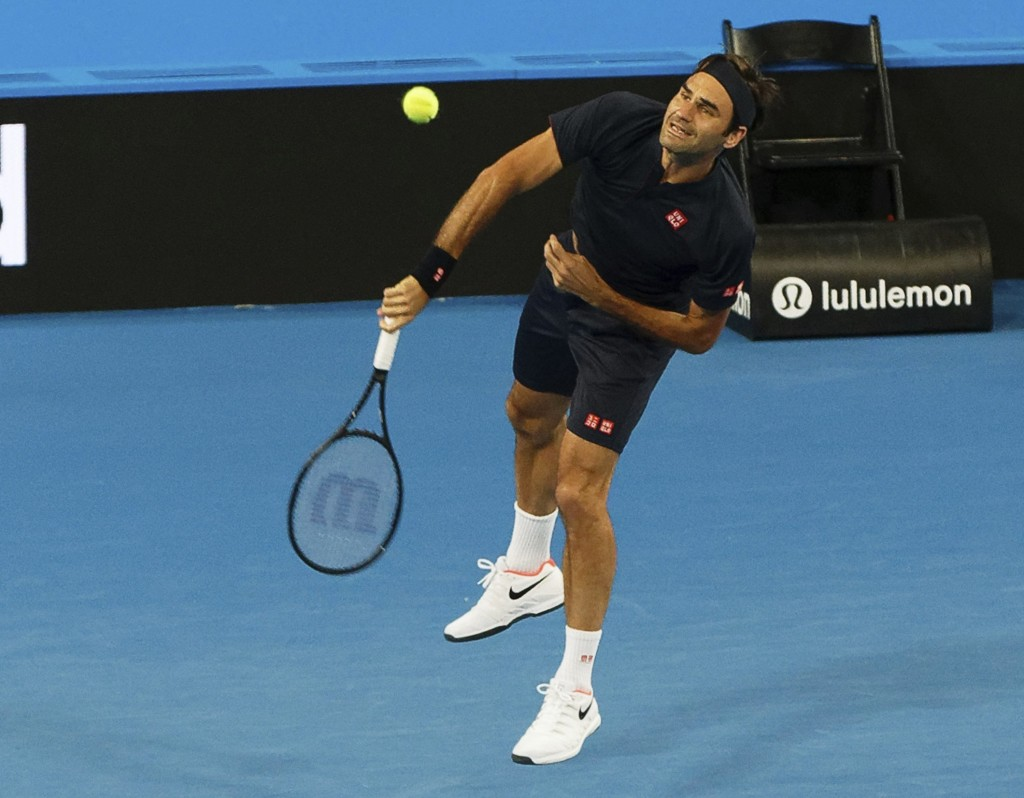 Roger Federer of Switzerland during his mixed doubles match with Belinda Bencic, against Cameron Norrie and Katie Boulter of Britain at the Hopman Cup...