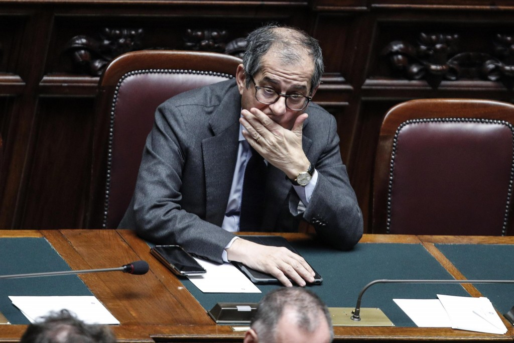 Italian Finance Minister Giovanni Tria attends a debate prior to a final vote to formally approve the 2019 budget law, at the Italian lower chamber of...