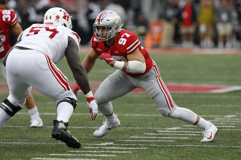 File-This Sept. 8, 2018, file photo shows Ohio State defensive lineman Nick Bosa playing against Rutgers during an NCAA college football game in Colum...