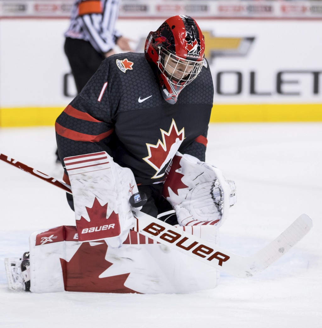 Canada goalie Michael DiPietro makes a save against the Czech Republic during second-period IIHF world junior hockey championship game action in Vanco...