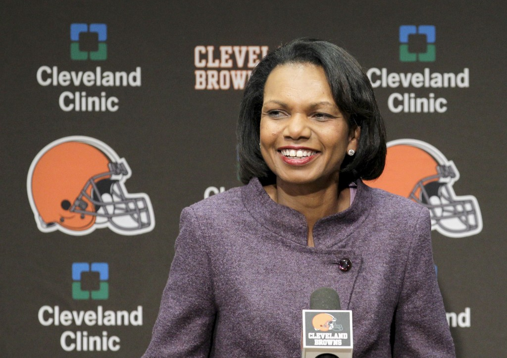 FILE- In this Oct. 21, 2010, file photo former Secretary of State Condoleezza Rice talks with the media after visiting with the Cleveland Browns coach...