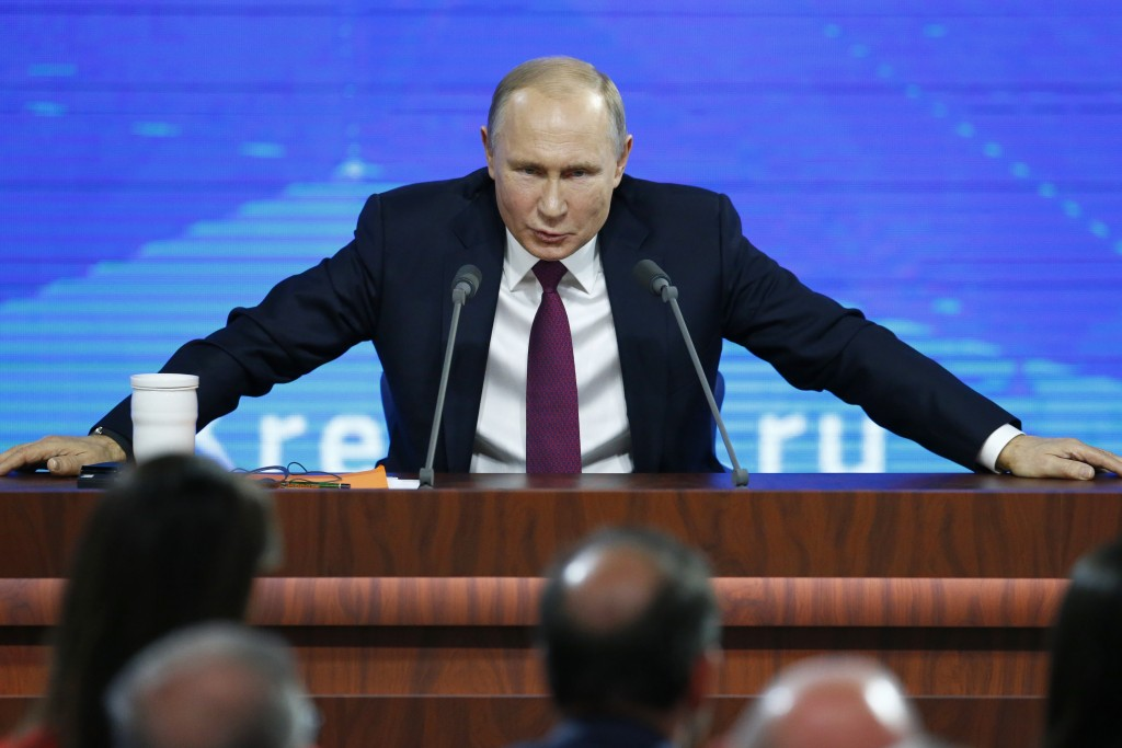 FILE In this file photo taken on Thursday, Dec. 20, 2018, Russian President Vladimir speaks during his annual news conference in Moscow, Russia. U.S. ...